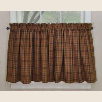 Primitive Spice Tier Curtains 72WX36L Rust Mustard Black Green Plaid Cotton ()