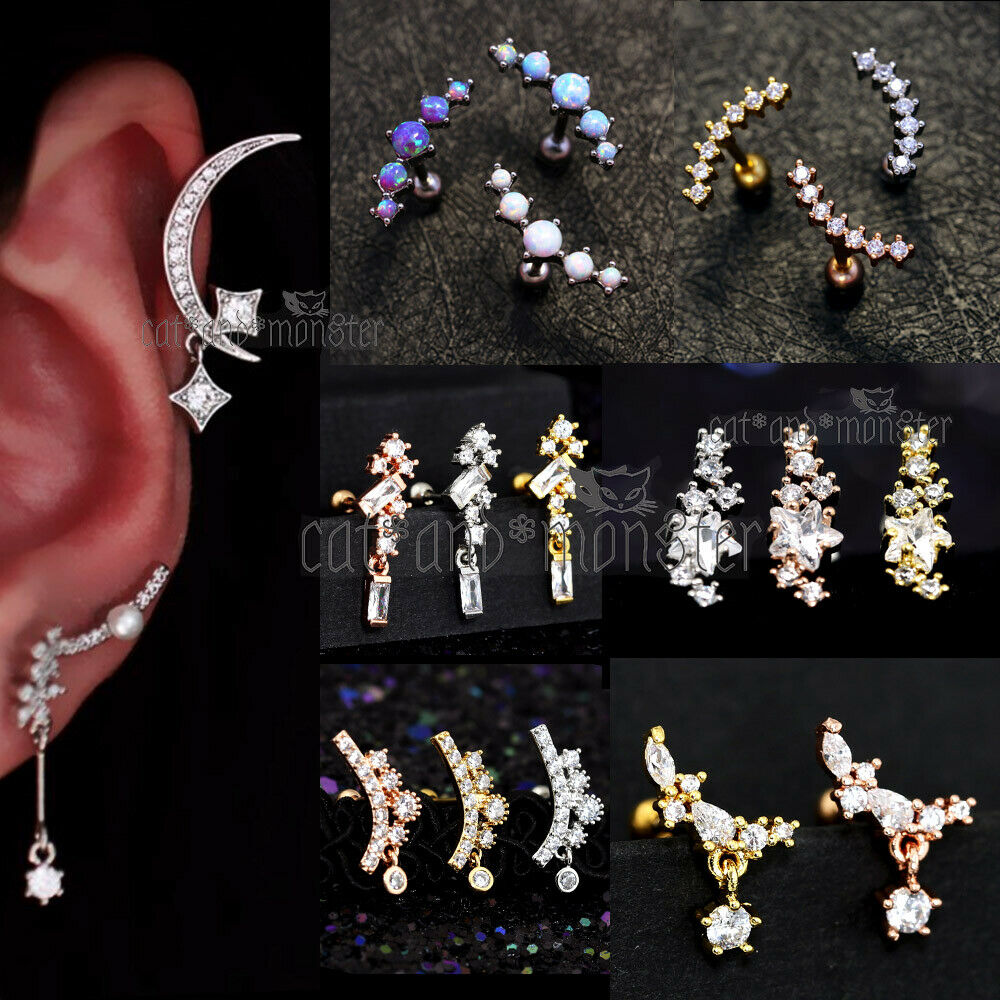 Jewellery - Opal GEM Drop Dangle Ear Climber Stud Ring Bar Cartilage Helix Piercing Earring