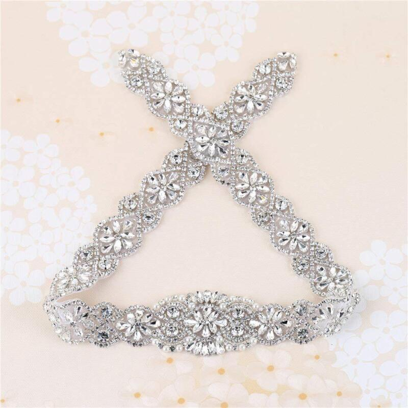 Rhinestone Wedding Bridal Sash Belt Dress Applique Crystal Pearl Beaded Hot Fix