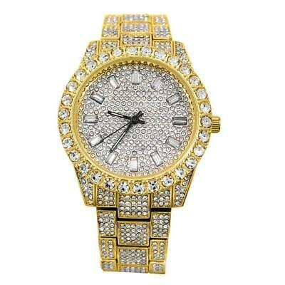 Fully Iced Out Bezel Hip Hop Bling Techno Pave Bust Down Watch Gold Luxury