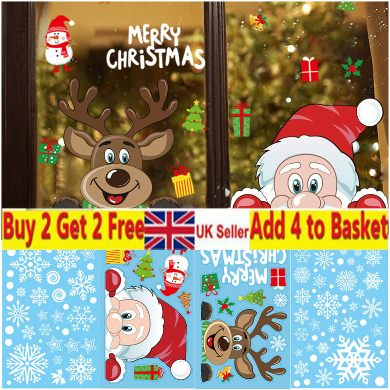 Home Decoration - Christmas Wall Stickers Wall Window Glass Home Decoration Sticker Xmas Decals