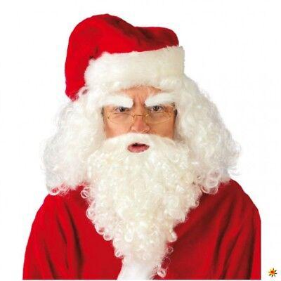 Nikolaus-Perücke und Bart weiß Weihnachtsann Kostüm Langhaar Locken Santa