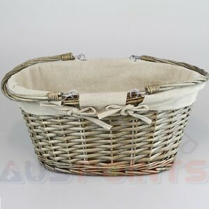 Willow Basket Wicker Storage Box Gingham Liner Cane Designed Swing Handle