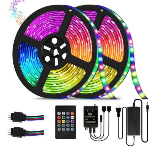 32.8ft RGB Music Sync Color Changing LED Strip Lights Remote
