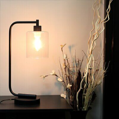 Curved Rustic Farm House Industrial Black Iron Clear Glass Shade Bedside Lamp Glass Rustic Floor Lamp