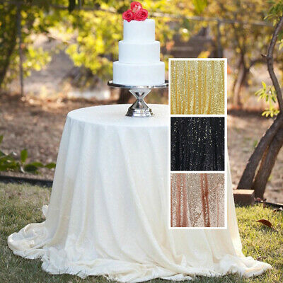 US Sequin Round Tablecloth Wedding Party Dinner Table Cover Decoration Tableware