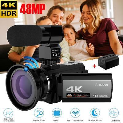 ANDOER 3.0'' 4K 48MP WIFI 16X ZOOM DIGITAL VIDEO CAMERA DV+MIC+LENS+BATTERY R6D0 ()