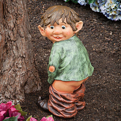 (Garden Gnome Elf Statue Caught With His Pants Down Outdoor Yard Art Patio Décor)