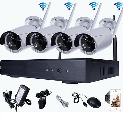 WIFI 4CH NVR 720P IP Wireless CCTV Surveillance Security System Outdoor Camera