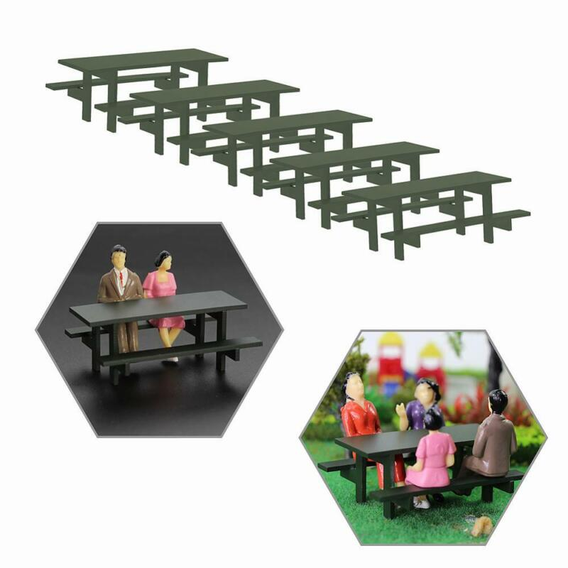 5pcs 1:32 Model Table Chair Outdoor G Scale Camping Moss Green Table Bench Seats