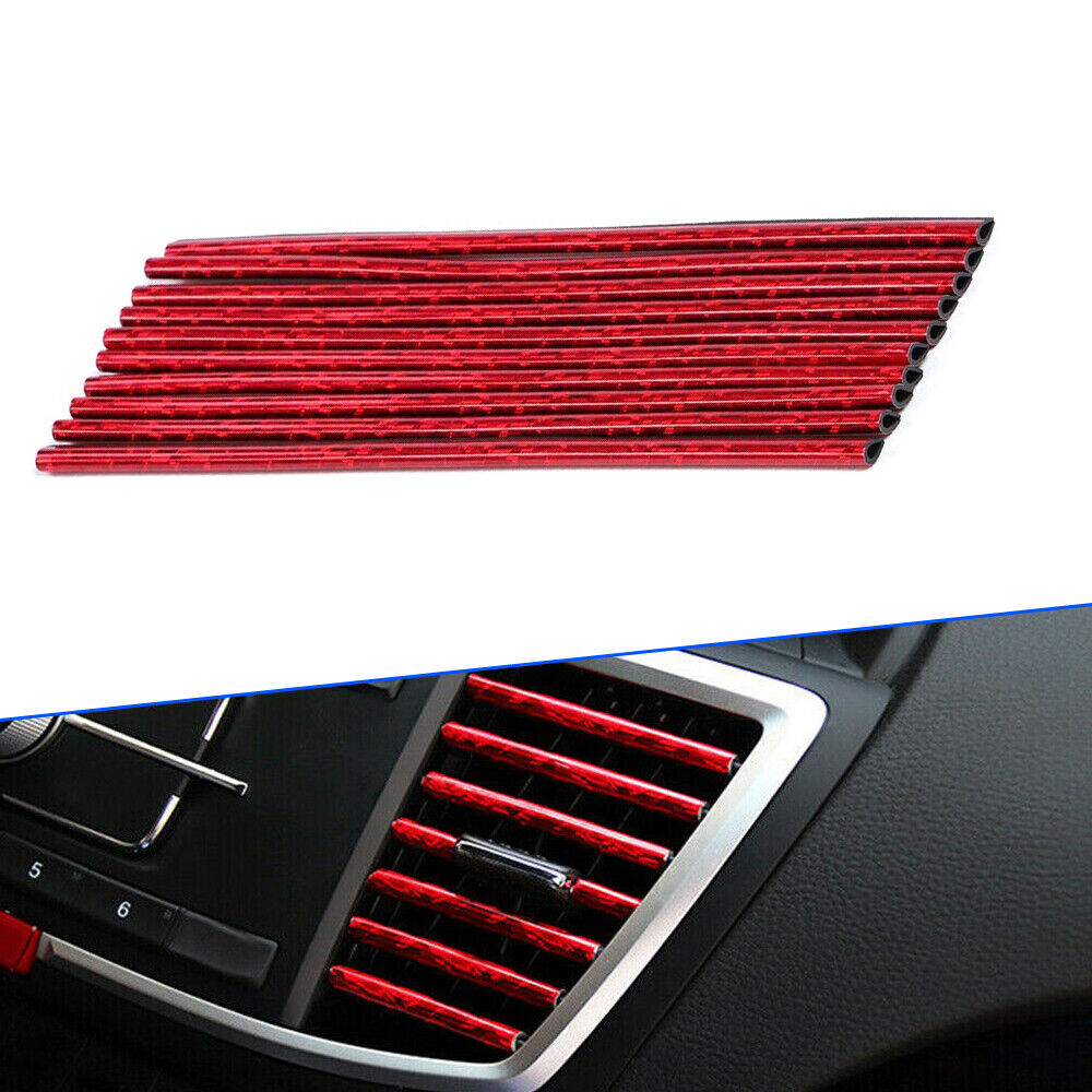 Ice Red 10 Pcs Auto Car Accessories Air Conditioner Air Outlet Decoration Strip