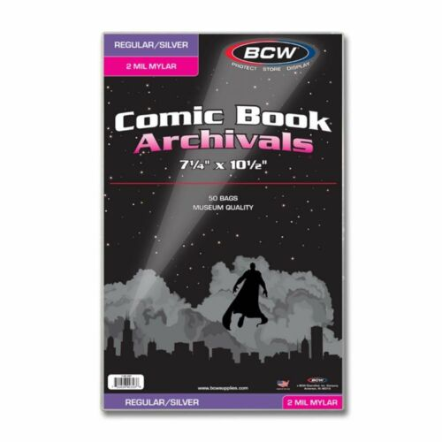 50 Silver / Regular 2-Mil Mylar Archivals Comic Book Bags by BCW