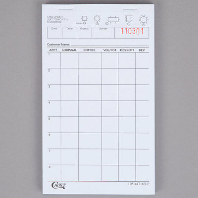NEW Choice 1 Part White Waiter / Waitress Order Pad - 10/Pack 999A4716WP