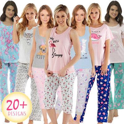 Ladies Pyjamas Pyjama Set Long Or Short Pajama Bottoms Girls Short Sleeve Cotton