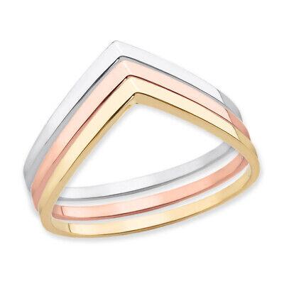 Solid Gold Stackable Chevron Wishbone V Shape - Gold Chevron