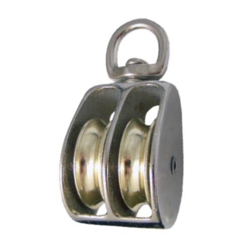 Swivel Eye Double Wheel Pulley Steel w Nickel Plating - Sheave 1.5, 1, 3/4 Inch