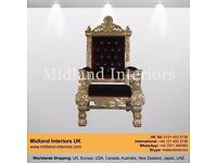 NEW Tokyo Luxury Throne Chair - Gold & Wine - Asian French Italian Wedding Gilded Antique Gothic