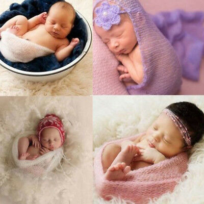 Newborn Baby Stretch Wrap Knitted Mohair Photo Photography Props Soft DIY Supply - Diy Photography Props