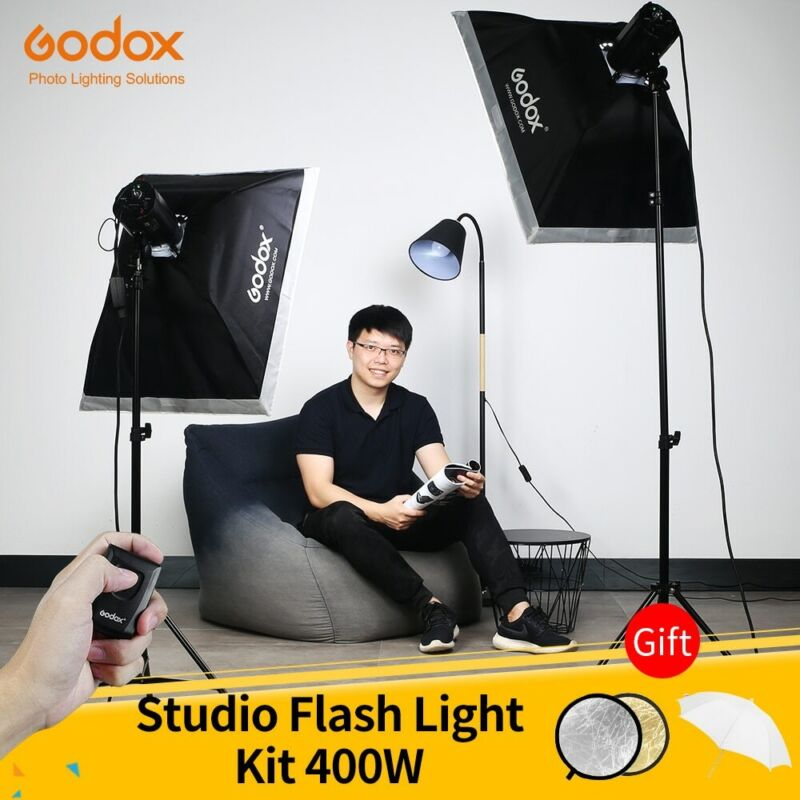 Godox 400Ws Studio Flash Kit 2x 200W Strobes with Light Stands,Triggers,SoftBox