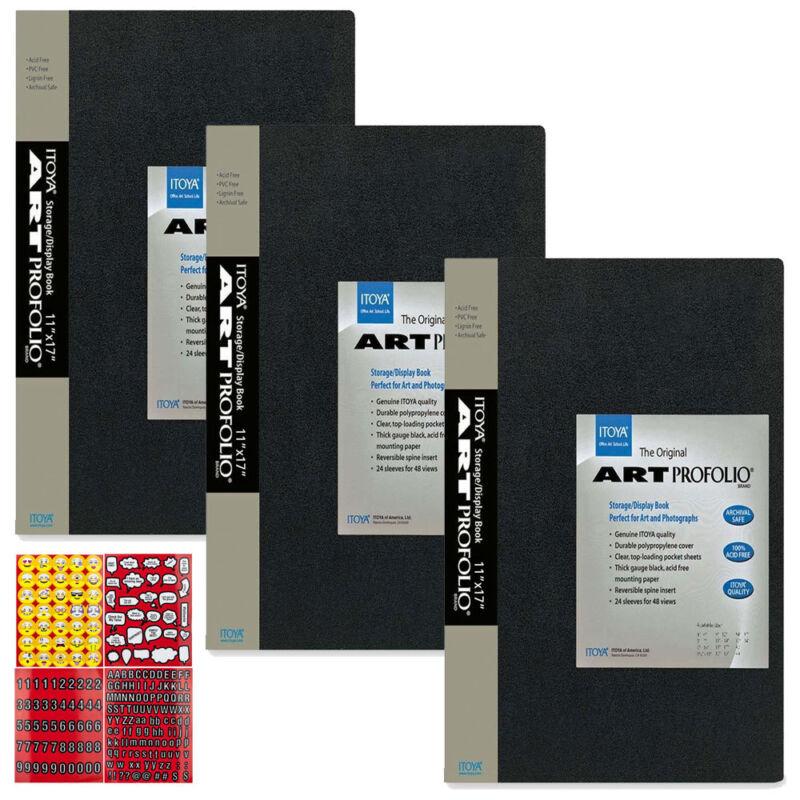 "Itoya Art Profolio Original Storage Display Book 11 x 17"" - Pack of 3 + Stickers"