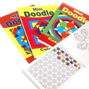 4 x Childrens Mini Doodle Colouring Books 44 Designs Per Book Party Favours 3095