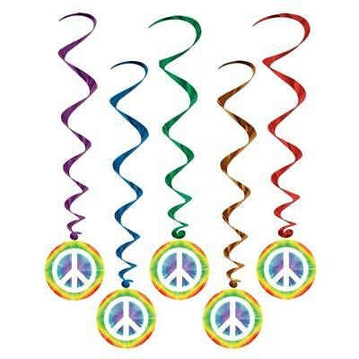 Peace Sign Whirls Tie Dye 60s 70s Groovy Retro Party Hanging Decorations 5 Pc (60s Decorations)