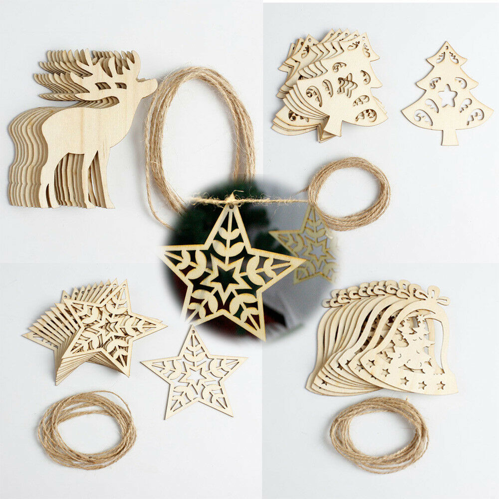 10Pcs Christmas Wood Chip Árbol Ornaments Xmas Hanging Pendant Decoration smt