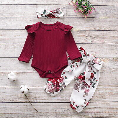 Newborn Baby Girl Clothes Floral Tops Romper Jumpsuit Pants Headband Outfits Set