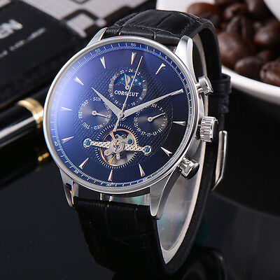 44mm Corgeut Black Dial Blue Markers Day Date Moon Phase Automatic Men Watch