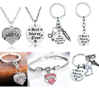 Nurse Gift RN LPN Nurse Cap Prayer Heart Necklace Keychain Xmas Women Graduation (Nurse Graduation Gifts)