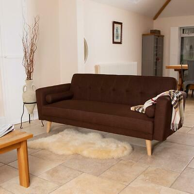 BROWN LUXURY STYLISH LINEN FABRIC UPHOLSTERED SOFA BED 3 SEATER COUCH RETRO Wido