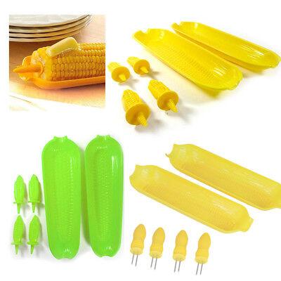 12 Pc Corn On The Cob Serving Set Dish Tray Server Skewers Prongs Holder Kitchen (Plastic Corn Dish Set)