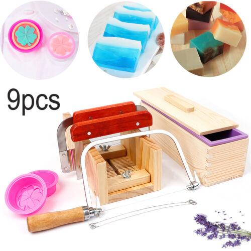 9pcs DIY Soap Making Tools Adjustable Wood Loaf Cutter and Wavy Cutting Kits US