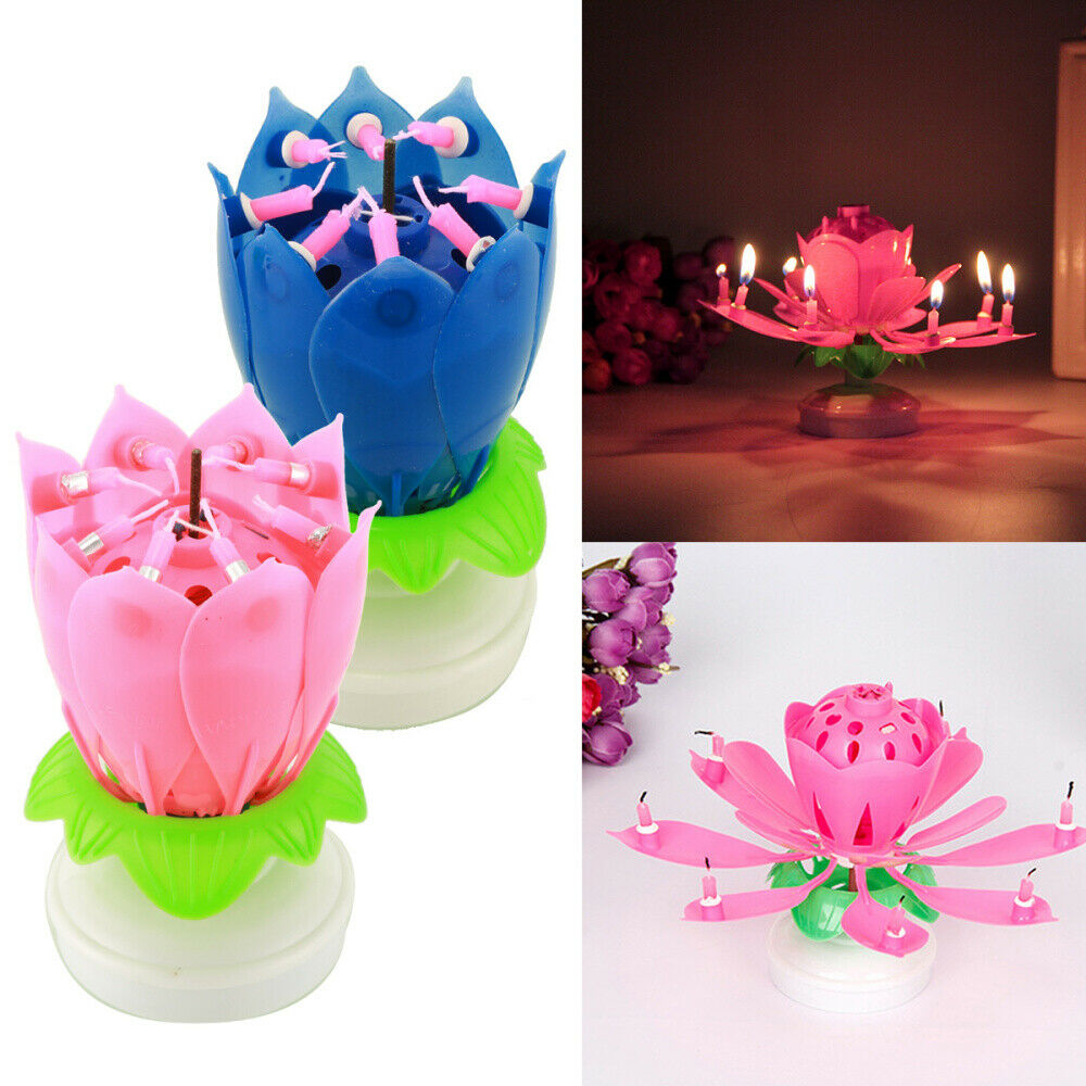 2Pcs Party Cake Topper Musical Blooming Lotus Flower Double-