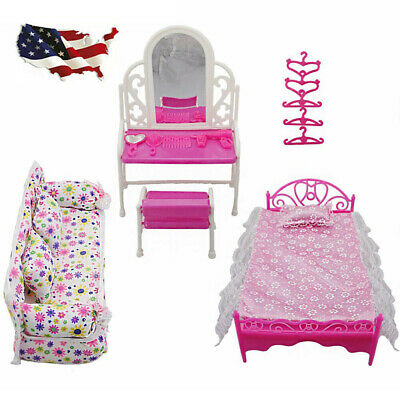 Barbie Doll Princess Bedroom Dollhouse Furniture Accessories Playset Kids Gift