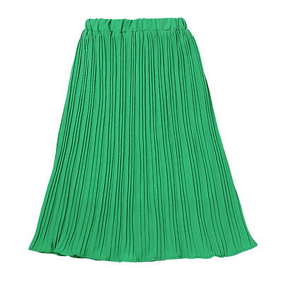 Green Women Stretch Knee-Length Pleated Skirt Chiffon Plain Skater Flared Dress
