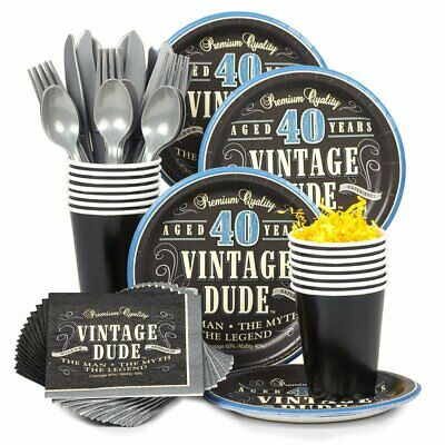 Costume Supercenter BBKIT693 Vintage Dude 40th Birthday Party Standard Tableware - Halloween Costumes Supercenter
