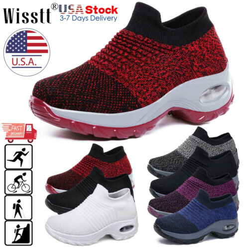 Womens Cushioned Sport Running Shoes Casual Slip on Walking