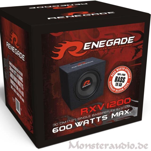 "Renegade RXV1200 Bassreflex Subwoofer 600 Watt 30cm 12"" Basskiste Auto Subbox"