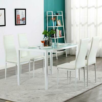 Upholstered 5 Piece Set Glass Table 4 Dining Side Chair Home Kitchen White NEW
