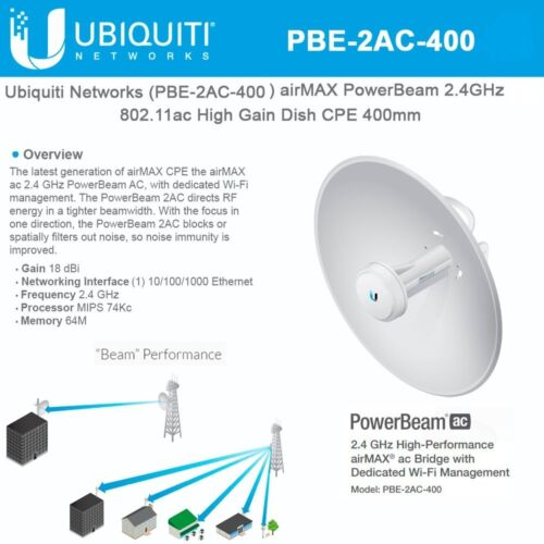 Ubiquiti PBE-2AC-400  2.4 GHz PowerBeam AC Int