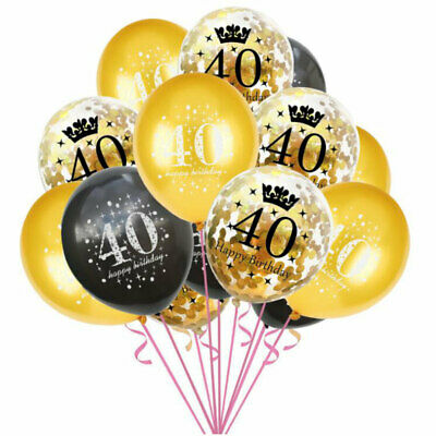 Set für 40. Geburtstag Feier Party Ballons Schwarz Gold (Luftballons Für Geburtstage)