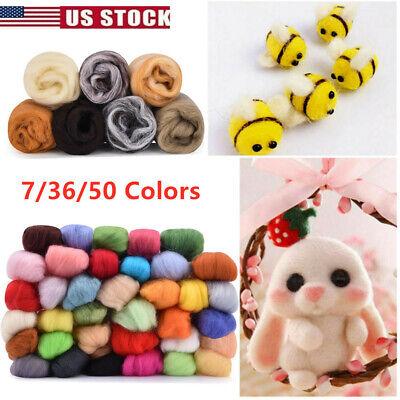 DIY Wool Fibre Roving 50/36 Colors  Felting Starter Needle Tool Kit Spinning US