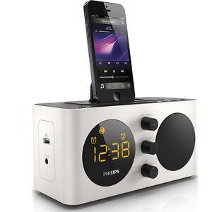 philips aj6200d fm alarm clock radio dock docking station for iphone 5 5s 6 ipod ebay. Black Bedroom Furniture Sets. Home Design Ideas