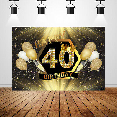 40th Birthday Backdrop (Custom 40th Birthday Backdrop Black and Gold Champagne Party Photo background)