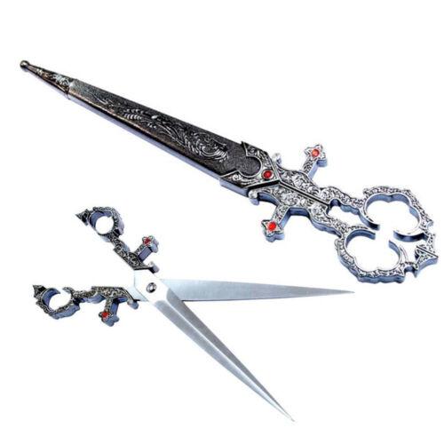 """Renaissance Dagger Style Scissors 10"""" NEW w/ Scabbard Silver Color Costume"""