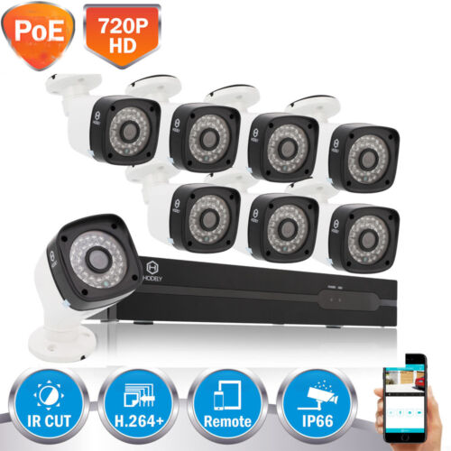 8-Channel HDMI NVR Outdoor 1MP HD PoE IR-Cut Bullet Camera H
