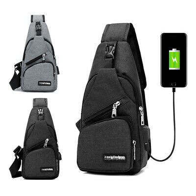 Mens Anti-theft Shoulder Bag Sling Chest Pack USB Charging Crossbody -