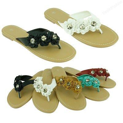 New Womens Sandal Gemstone Style Thongs Flower Flat Beach Flip Flops Sandals