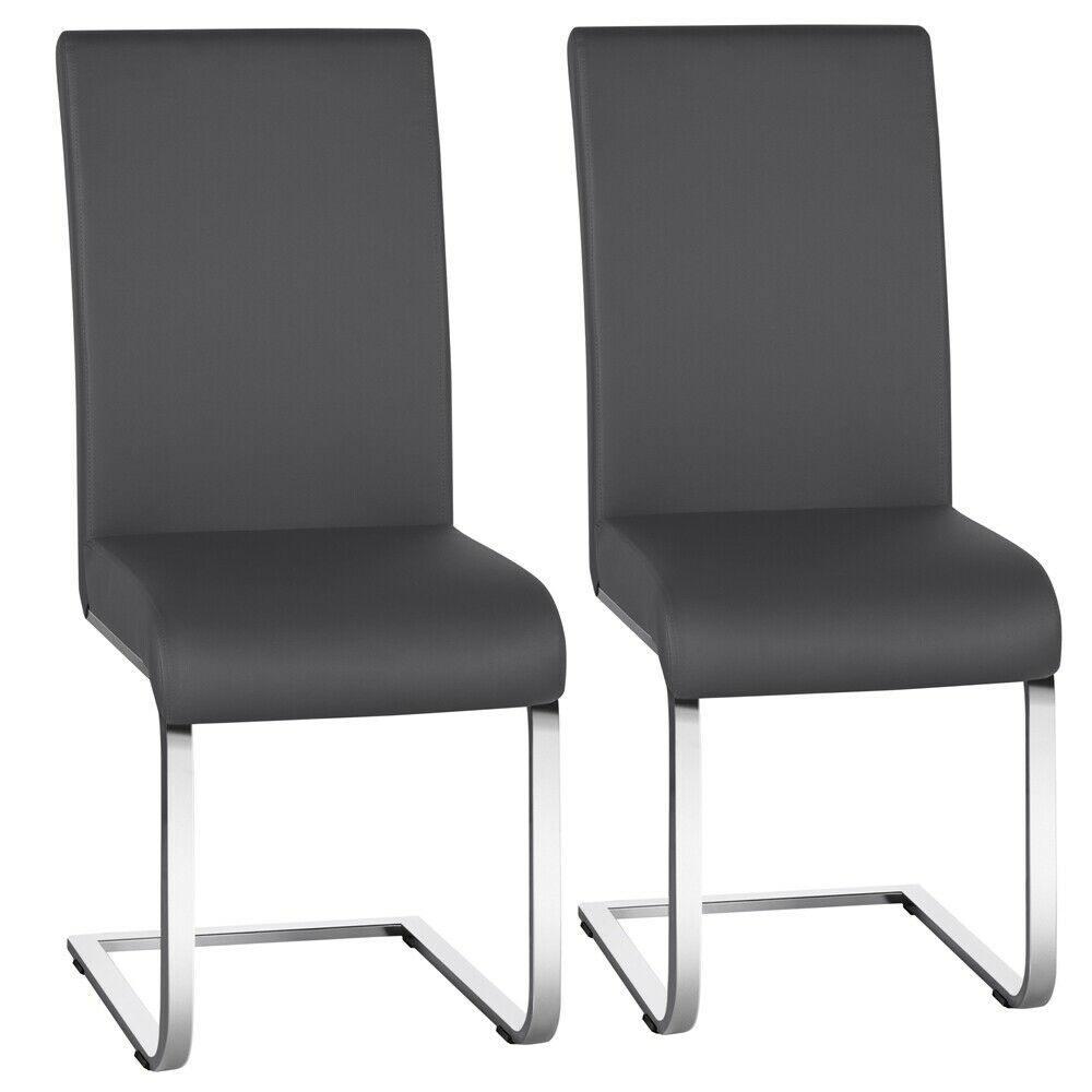 2pcs Modern PU Leather Dining Chairs Dining Room Metal Seat Kitchen Furniture